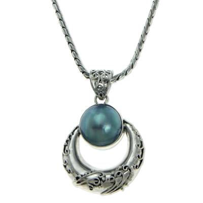 Cultured pearl pendant necklace, 'Blue Crescent Moon' - Cultured pearl pendant necklace