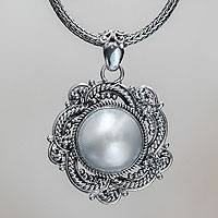 Cultured pearl flower necklace, 'Moonflower' - Cultured Pearl and Sterling Silver Naga Chain Necklace