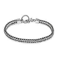 Men's sterling silver bracelet, 'Dragon Knight'
