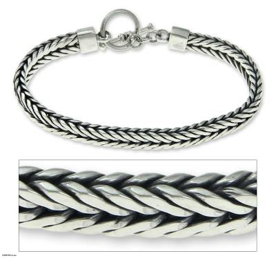 Men's sterling silver bracelet, 'Dragon Knight' - Men's Braided Sterling 925 Silver Bracelet