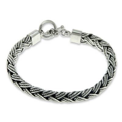 Men's sterling silver bracelet, 'Champion' - Men's Fair Trade Sterling Silver Chain Bracelet