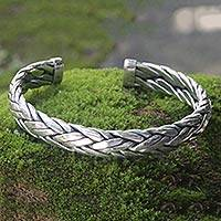 Men's sterling silver cuff bracelet, 'Flowing Water' - Men's Silver Cuff Bracelt from Bali