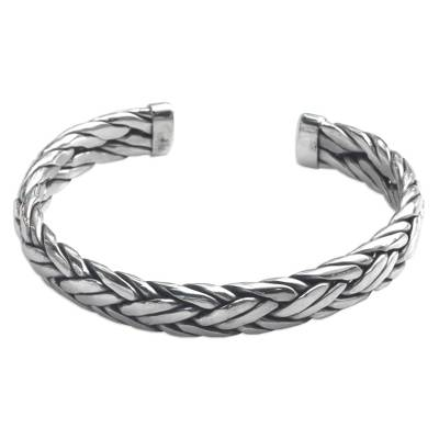 Men's sterling silver cuff bracelet, 'Flowing Water' - Men's Modern Sterling Silver Cuff Bracelet