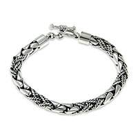 Men's sterling silver bracelet, 'Dragon Hunter' - Men's Cobra Style Sterling Silver Bracelet from Java