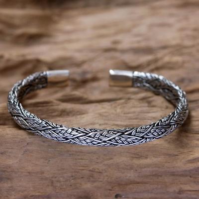 fdb5e5c8237 Men's sterling silver cuff bracelet, 'Warrior' - Men's Silver Cuff Bracelet