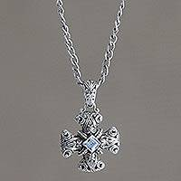 Blue topaz pendant necklace, 'Floral Cross' - Unique Sterling Silver and Blue Topaz Pendant from Indonesia