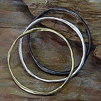 Brass bangle bracelets, 'Millenary Chic' (set of 3) - Handcrafted Indonesian Set of 3 Brass Bangle Bracelets