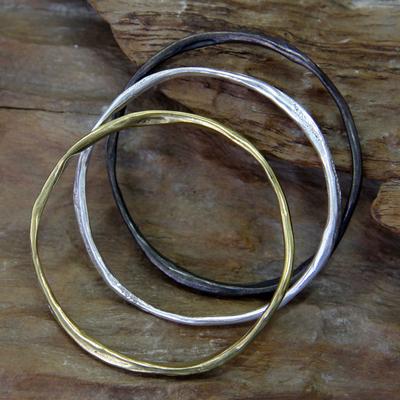 Brass bangle bracelets, 'Millenary Chic' (set of 3) - Set of 3 Brass Bangle Bracelets