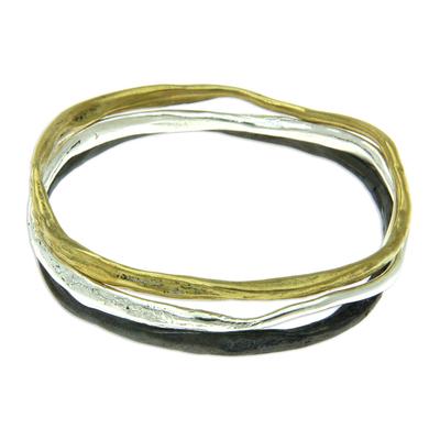 Set of 3 Brass Bangle Bracelets