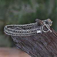 Men's sterling silver bracelet, 'Balinese Centipede'