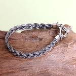 Men's Sterling 925 Silver Braided Bracelet, 'Naga Braid'
