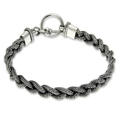 Men's sterling silver bracelet, 'Naga Braid' - Men's Sterling 925 Silver Braided Bracelet