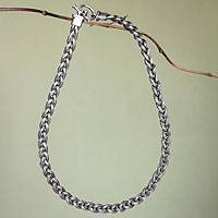 Men's sterling silver necklace, 'Naga Braid'