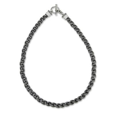 Men's sterling silver necklace, 'Naga Braid' - Men's sterling silver necklace