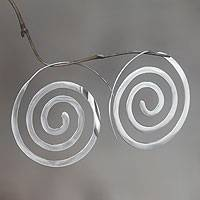 Sterling silver drop earrings, 'Expanding Consciousness' - Modern Sterling Silver Earrings