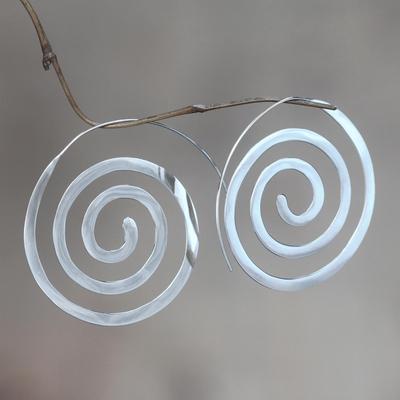 Novica Sterling silver drop earrings, Expanding Consciousness - Modern Sterling Silver Earrings