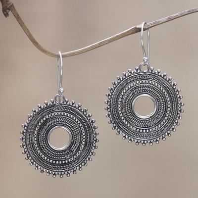 Sterling silver dangle earrings, 'Dazzling Moons' - Sterling silver dangle earrings