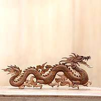 Wood wall sculpture, 'Baru Klinthing Dragon'