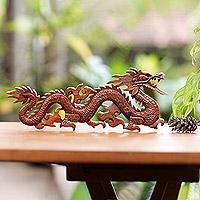 Wood wall sculpture, 'Baru Klinthing Dragon' - Handmade Suar Wood Relief Panel