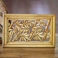 Wood relief panel, 'Bamboo Thicket' - Wood relief panel