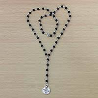 Onyx Y necklace, 'Good Fortune' - Onyx and Sterling Silver Chinese Coin Y Necklace