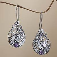 Amethyst flower earrings, 'Butterflies and Frangipani' - Sterling Silver and Amethyst Butterfly Earrings from Bali