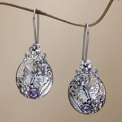 Amethyst flower earrings, 'Butterflies and Frangipani' - Floral Sterling Silver Dangle Earrings