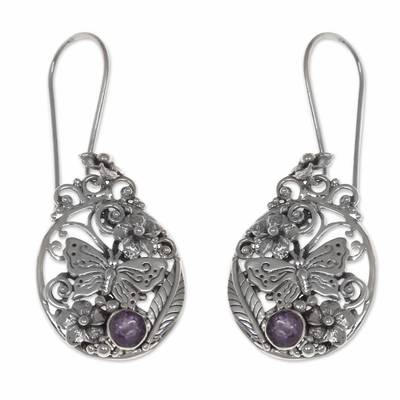 Amethyst flower earrings, 'Butterflies and Frangipani' - Floral Sterling Silver Dangle Earrings