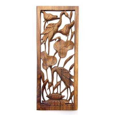 Wood relief panel, 'Herons in a Lotus Pond' - Hand Made Suar Wood Bird Relief Panel
