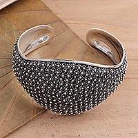 Sterling silver cuff bracelet, 'Pikun Galaxy' - Unique Sterling Silver Cuff Bracelet