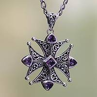 Amethyst pendant necklace, 'Maltese Cross'