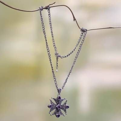 Amethyst pendant necklace, 'Maltese Cross' - Amethyst pendant necklace