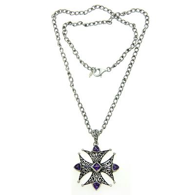 Amethyst pendant necklace, 'Maltese Cross' - Amethyst pendant necklace