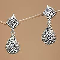 Sterling silver dangle earrings, 'Dewdrop' - Sterling silver dangle earrings