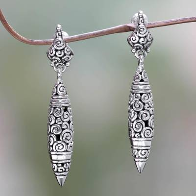 Sterling silver dangle earrings, 'Regency' - Modern Sterling Silver Dangle Earrings