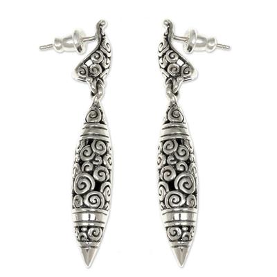 Sterling silver dangle earrings, 'Regency' - Modern Sterling Silver Dangle Earrings