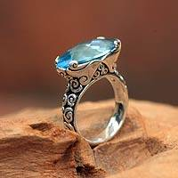 Blue topaz cocktail ring, 'Tranquil Sea'