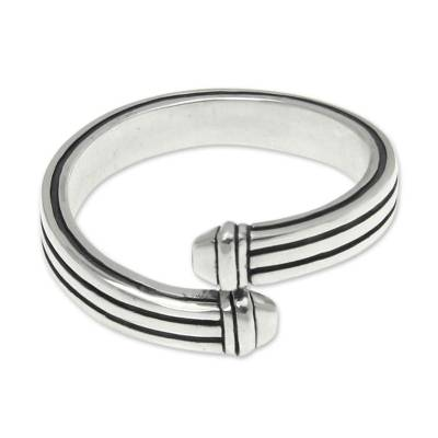 Men's sterling silver ring, 'In My Arms' - Men's sterling silver ring
