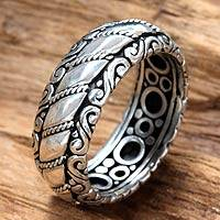 Sterling silver band ring, 'Seaside Path'