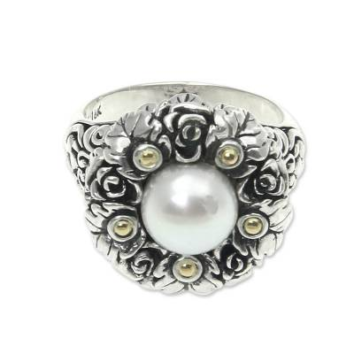 Gold accent cultured pearl flower ring, 'Rose Nosegay' - Gold accent cultured pearl flower ring