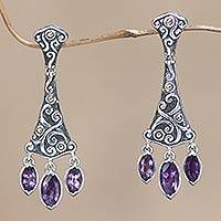 Gold accent amethyst chandelier earrings, 'Purple Prism' - Gold accent amethyst chandelier earrings