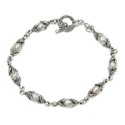 Cultured pearl link bracelet, 'Passion Fruit' - Cultured pearl link bracelet