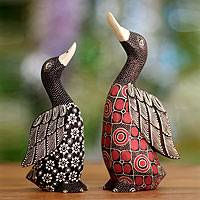 Wood batik sculptures, 'Noble Ducks' (pair) - Unique Indonesian Wood Bird Sculpture (Pair)