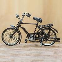 Metal statuette, 'Pit Kebo' (small) - Vintage Buffalo Bike Sculpture Handmade Replica (Small)