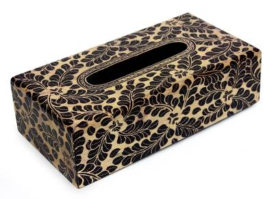 Wood batik tissue box, 'Harvest' - Wood Batik Tissue Box Handmade in Java
