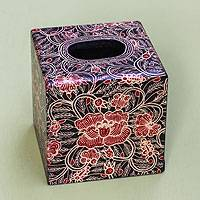 Wood batik tissue box cover, 'Wild Hibiscus' - Square Wood Batik Tissue Box Cover from Bali