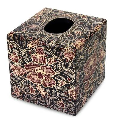 Wood batik tissue box cover, 'Wild Hibiscus' - Square Wood Batik Tissue Box Cover from Bali
