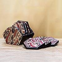 Wood batik coasters, 'Kirno Monda' (set of 6) - Wood batik coasters (Set of 6)
