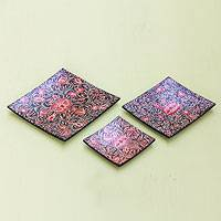 Wood batik decorative plates, 'Wild Hibiscus' (set of 3) - Wood batik decorative plates (Set of 3)