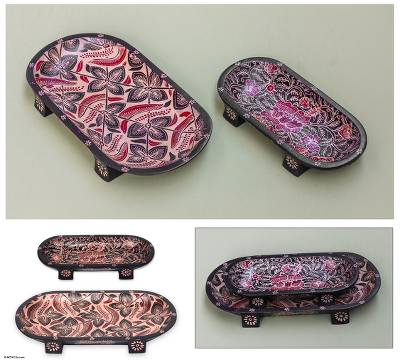 Wood batik catchall trays, 'Java Floral' (pair) - Wood batik catchall trays (Pair)